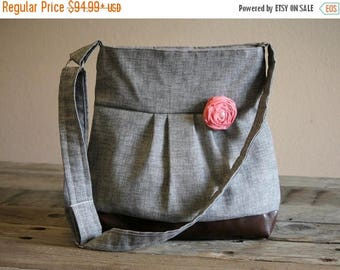 CHRISTMAS SALE Concealed Carry Purse, Large Messenger Bag, Grey Purse, Conceal Carry Handbag, Concealed Carry Purse, Conceal and Carry, Wome