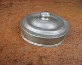 French Pewter Container with lid. Small oval metal pill or trinket box made in France. Grand Duc mark brand. Lovely little Francophile gift