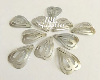 10 pcs,Snap clips,heart snap clips,35mm snap clip,small snap clip,baby snaps clips,metal snap clips,silver snap clips,blank snap clips.