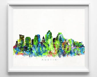 Austin Skyline Print, Texas Print, Austin Poster, Watercolor Art, Wall Decor, Skyline, Giclee Art, Living Room Decor, Valentines Day Gift