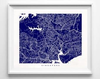 Singapore Map, Singapore Print, Singapore Poster, Singapore Art, Giclee Print, Nursery Wall Decor, Bath Decor, Gift, Valentines Day Gift