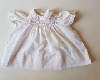 Polly Flinders vintage handsmocked baby dress approx 6-9 months