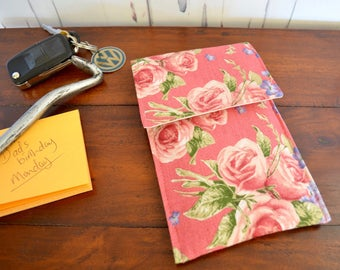 Pink rose phone case, cell phone pocket, mobile cover, ipod case, gadget pouch