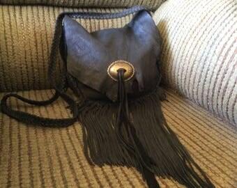 Deer Hide Fringed Purse with Concho, Large Black Leather Bag with Fringe and Pocket, Handmade Deerskin Leather Shoulder Bag, Made in Canada