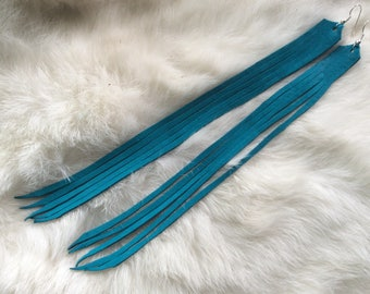 Long Fringed Leather Earrings, Turquoise  Deer Hide Earrings, Deerskin Fringe Earrings, Made in Canada
