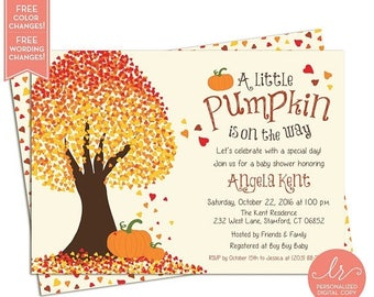 Fall Baby Shower Invitations - Little Pumpkin Baby Shower Invitation - Fall Birthday Party Invites - Printable Invitation - LR1017BA Orange