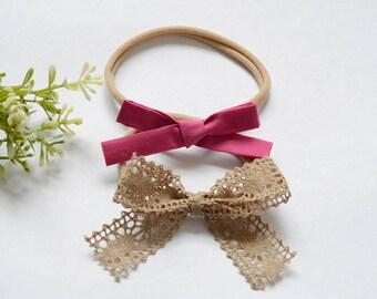 Tan lace bow, Nylon baby headbands, nylon headbands,baby hair bows, infant headband, newborn headband, baby girl headbands.