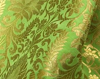 30% OFF Indian Silk Brocade Mint Green and gold Fabric,Wedding Indian brocade,Brocade by yard, dress fabric, Wedding brocade