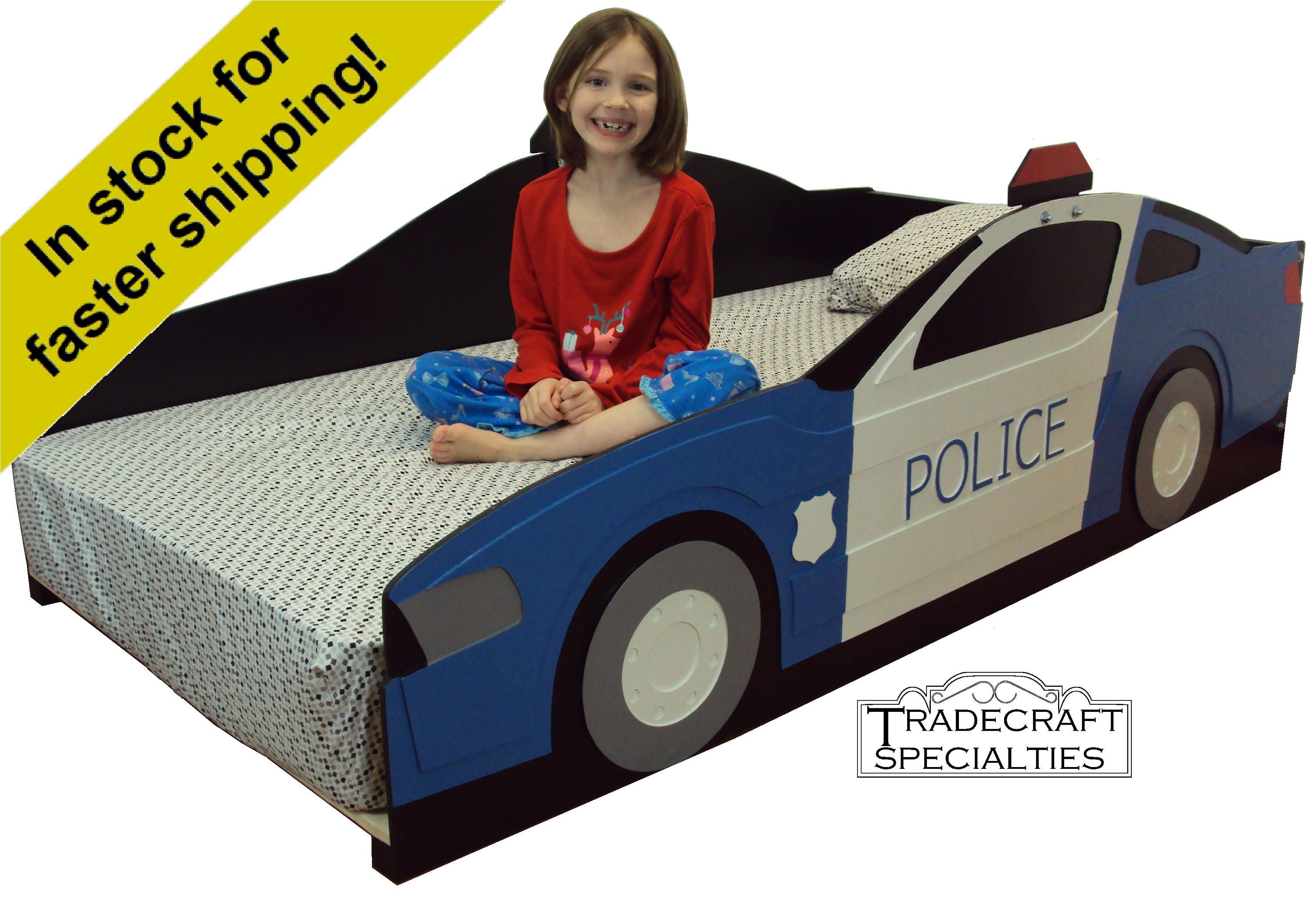 Police car twin kids bed frame handcrafted police and cop
