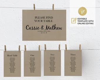 Printable Seating Chart Template | Editable online template | Instant Download | DIY You print