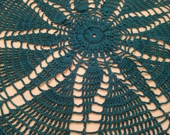 Hand Crocheted Emerald Teal Green Doily 16'' #t3