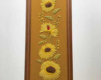 Long Vintage Crewel Sunflower Wall Hanging