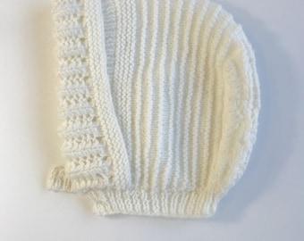 White Crocheted Baby Bonnet Hat