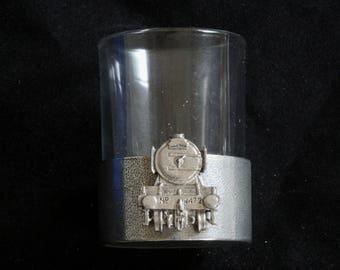 Flying Scotsman Shot Glasses Pewter Based Round 50ml Train Lover Gift