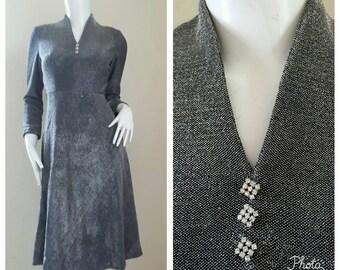 Vintage 60s 70s Metallic Dress ~ Midi Dress Size Small