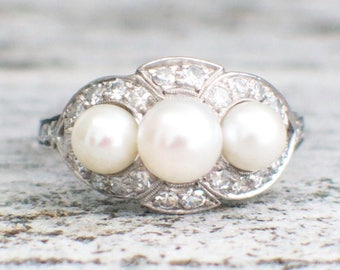 RESERVED * (NOT for SALE) Final Payment Platinum Pearl and Diamond Vintage Edwardian Ring