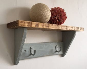 Vintage rustic reclaimed pine shelf with hooks 40cm