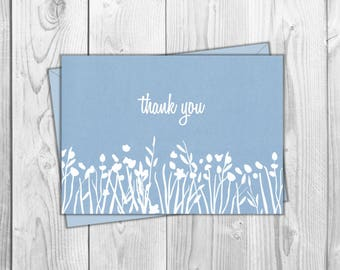 5x7 Thank You Printable Card- Blue - Friend, Wedding, Baby Shower, Just Because