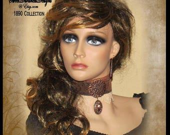 Steampunk EARRINGS Copper FILIGREE AMBER Crystal Earrings