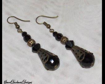 VICTORIAN STEAMPUNK Earrings BRONZE Filigree BLaCK Fauceted Crystal Dangle Fishhook Steampunk Victorian Earrings by SweetDarknessDesigns
