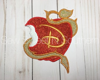 Disney descendants inspired sew or iron on 5x7 patch. Rotten to the core apple applique. Sew or iron on applique patch.