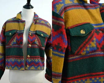 CLEARANCE SALE Vintage 90s Southwestern Style Cropped Jacket / Multicolor Funky Print Coat / Small S Medium M / vtg 1990s
