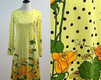 SUMMER SALE Vintage Alfred Shaheen 60s 70s Yellow Polka Dot Floral Flowers Designer Dress Medium M 1960s 1970s Long Sleeve Medium M Midi Len