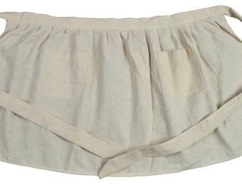 Apron 2 pockets 110cm X 52 cm ecru cotton