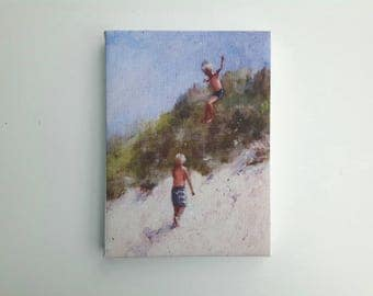 Small swimmer print, print on canvas, tiny painting, small canvas, print acrylic, lake painting, swimming print, gift for her, glicee canvas