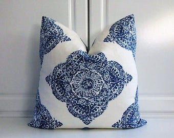"Decorative Pillow Cover using John Robshaw for Duralee fabric-""Mani"" Indigo Medallion-18x18, 20x20-Last Two!"