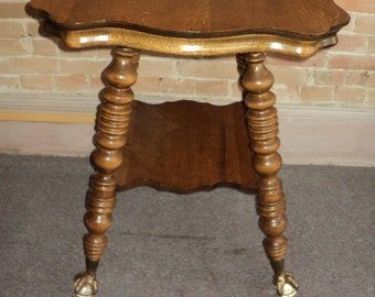 Antique Quarter Sawn Oak Parlor Table, Claw Feet #2, Shipping not Free