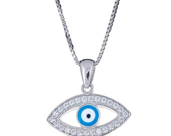 Wide Evil Eye Pendant with Box Chain .925 Sterling Silver CZ Set