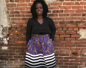 Purple Stripped African Ankara Skirt; African Clothing; African fashion; African Print; African Skirt; African Clothing;