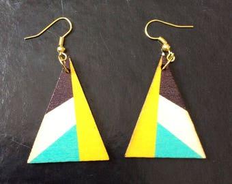 Earrings in wood, triangles, geometric motifs