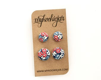 Mommy and Me Earrings, Mother Daughter Earring Set, Patriotic Earrings Sets, Fabric Button Earrings, Red White & Blue Earrings, Floral Studs