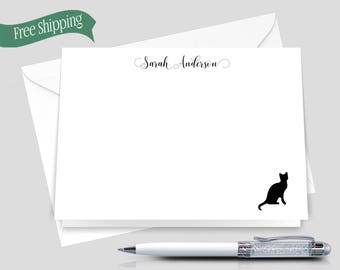 Cat Stationery _ Set of 12 with Envelopes _ Signature Collection _ Custom Stationery _ HWM011