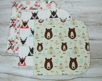 Baby burp cloths Set of 3. Baby gift. Girl burp cloths. Ready to ship.