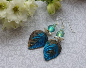 Fireflies Earrings. Art jewelry. Lampwork. Helen Backhouse Leaves. Sterling silver. Fae jewelry. Uk artist. Gift for her.
