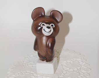 Olympic bear Vintage Porcelain Figurine olympiad Brown bear figurine Russian bear Soviet olympiad USSR Soviet Porcelain Soviet Ceramic