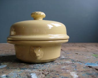 vintage French terrine, foie gras terrine, yellow, sarrguemines, small lidded terrine, butter dish, lion's head