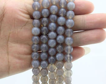 Faceted Round Grey Agate Beads,One Full Strand,stone Beads,Round beads,Gemstone Beads,Round beads,Gemstone Beads----15-16 inches--EB361