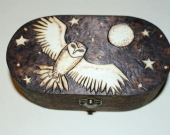 Mystic Owl of the Night - Oval Trinket Storage Box