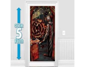 Evil Carnival Side Show Clown Reusable Plastic Door Cover - Creep Out Your Guests Before They Even Enter The Party!