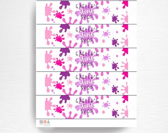 Pink Purple Slime Birthday Party Water Bottle Labels