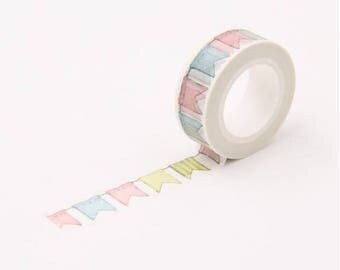 Roll of masking tape pastel Garland - Washi tape flag banner