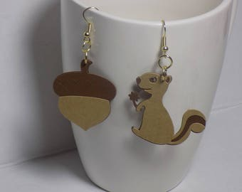 Squirrel Gets a Nut Earrings