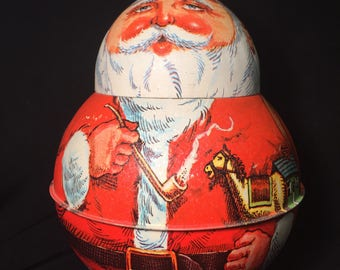 Roly Poly Santa Tin Cannister. Container by Bristol Ware, 1980, Christmas Decoration, Candy Container For Yum Yums, Gift Container.