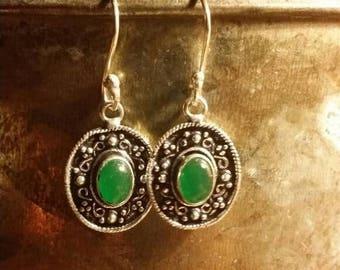 SUMMER SALE 75% Off Green Onyx Earrings Gemstone  .925 Sterling Silver