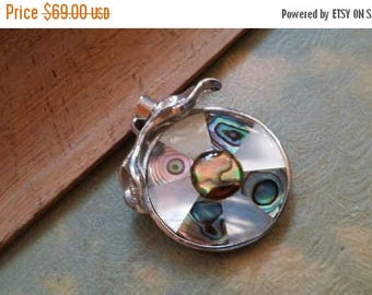 65%OFF SALE Abalone Mother Of Pearl Pendant Gemstones  . 925 Sterling Silver