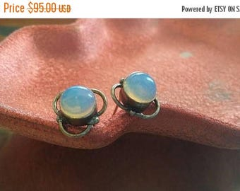 Holiday SALE 85 % OFF Opal Stud Post Earrings Gemstone  .925 Sterling  Silver